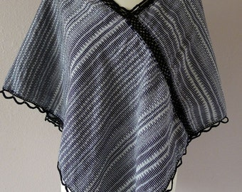 Mexican Rebozo Shawl Scarf Quechquemitl 100% cotton - Black Ikat traditional FRIDA garment -X-LRG.