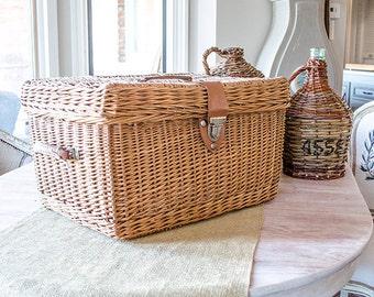 Vintage Wicker Basket Hamper, Leather Handles, Metal Hardware, Large Size