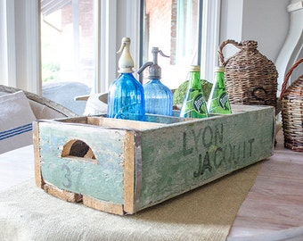 Antique FRENCH Bottle Crate, From France, Stamped, Old Green Paint, Wood