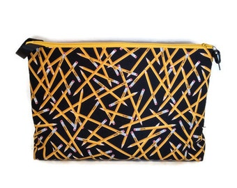 Large Back to School Yellow No. 2 Pencil Toss on Black Zipper Storage Pouch Pencil Case S179