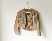 SALE Boxy Fringe Leather Jacket / Cowboy Cropped Blazer / Western Country Outerwear Coat / Boho Hippie Suede 70s Tan Brown / Pioneer Wear