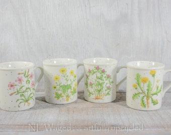 Cute coffee mugs, stoneware coffee cups, 70s coffee mugs