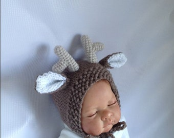 newborn photo prop, reindeer newborn/ baby hat, christmas newborn props, newborn girl, newborn boy, newborn knit hat, newborn hat, baby hat