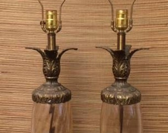 Vintage PINEAPPLE Lamps PAIR Hollywood Regency Rare Glass Brass Marble 1950's