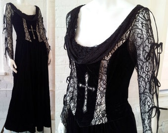 Black Lace Velvet Goth Prom Dress 90s Vintage Lip Service Small Wedding Gown Witch Gothic Renaissance Elvira Tim Burton Morticia Cross Dress