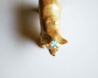 animal totem, golden retriever, floral crown, gold animals, totem, clay art, miniature animals