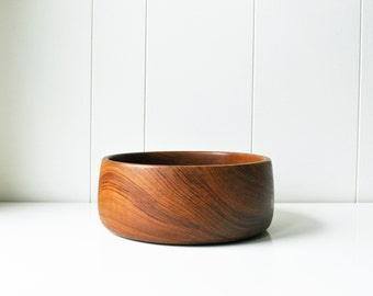 "Vintage 10"" Teak Wood Serving Bowl"