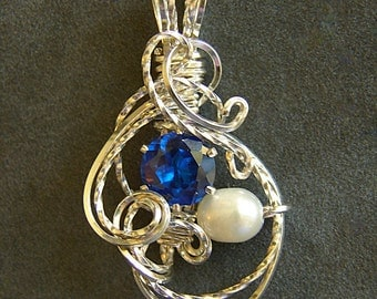 Blue Sapphire & Pearl Silver Wire Wrapped Pendant September Birthstone