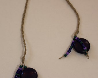 Braided Hemp Bookmark - Purple Discs