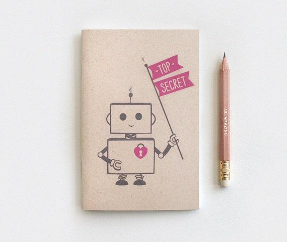 Mini Journal - Top Secret Robot Personalized Notebook Journal & Pencil Set, Kawaii Recycled Stocking Stuffer, 5 Colors, Mini Large or Midori