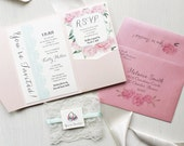"Baby Girl Shower Invitations - Customizable, Calligraphy, Pale Blush Pocket, Blush Envelope Liner, Lace, Seafoam - ""Ruffles & Ribbons"""