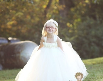 ivory flower girl dress, ivory tutu dress, ivory dress, ivory child dress, flower girl dress tulle, baby dress, vintage wedding, tutu dress