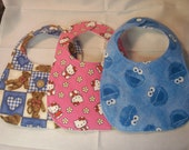 Handmade baby bibs, flannel/cotton front, quilted back fabric