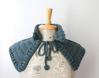 Hand made capelet / crochet neck warmer / medieval armor style inspired / stormy sea heather teal / Outlander style neck shawl / rustic wrap