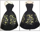 RESERVED~~~~~Vintage 1950s Dress | Black Dress | Floral Dress | Full Circle Dress | 50s Dress | 1950s Party Dress | New Look |