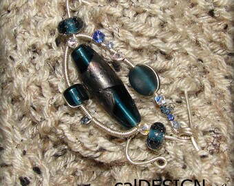 Midnight Blue Scarf Pin - Sterling Silver, Lampwork, Swarovski Crystals