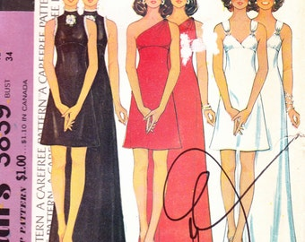 McCall's 3839One Piece Evening Gown Three Styles Two Lengths Size 12 Bust 34 Uncut Pattern FF