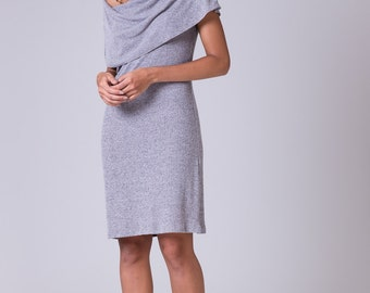 Off shoulder dress Light gray dress gray shrug dress cotton gray dress knee length dress Casual midi dress bolero dress Shawl gray dress