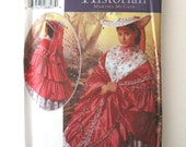 Victorian Civil War Shawl Wrap and Garden Hat Pattern Simplicity 5444 Womens Historical Southern Belle Mantle & Hat Sewing Pattern UNCUT