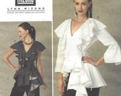 Lynn Mizono Womens Dramatic Ruffled Top or Tunic Vogue Sewing Pattern V1413 Size 14 16 18 20 22 Bust 36 to 44 UnCut Vogue American Designer
