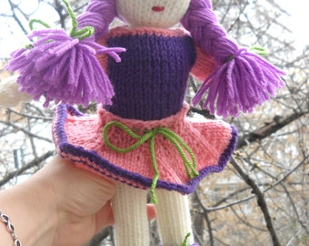 "KNITTED DOLL ""EMA"" violet Waldorf doll human figure doll ready to go fully dressed doll- waldorf girls doll- Montessori- Steiner doll-gift"