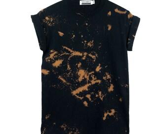 Black Tie Dye T-Shirt - Bleach Pattern < UNISEX SIZE > Grunge Tie Dye Shirt, Black Festival Shirt, Grunge Grey Tie Dye, Edgy Festival Top