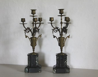 Antique French Pair of Napolean III Candelabras in Marble and Bronze Colored Metal