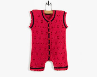 Knitted Baby Sleeveless Romper - Red, 6 - 9 months, ladybug buttons