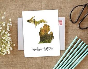 Michigan Autumn, Michigan Fall, Michigan Card, Michigan Color Tour, Fall Leaves, Fall Photography, Fall in Michigan, Michigan Notecards