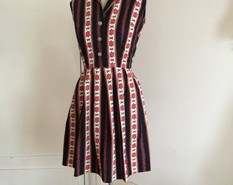 Vintage 50s shirt dress rose print S M