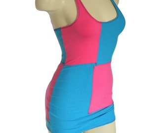 Hot Pink & Turquoise Cotton Spandex Patchwork Tank Dress Clubwear Stripper One Size