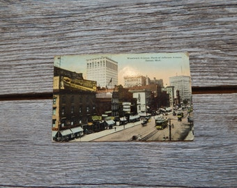 Woodward Avenue Detroit Postcard from the early 1900's
