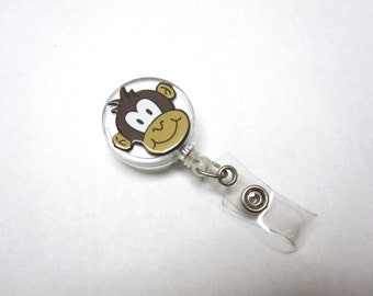 Smiling Monkey Retractable ID Badge Reel White Name Tag Holder