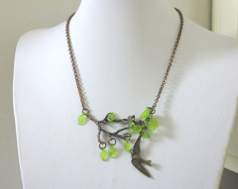 Bird Tree Branch Necklace Copper Branches Jewelry Sparrow