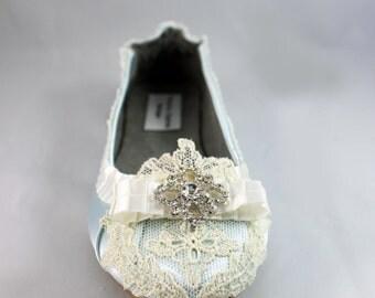 Light blue Wedding  Flat - Baby Blue Wedding Ballet Flats -The June