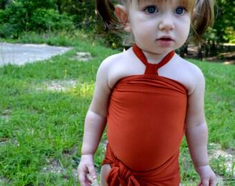 Baby Bathing Suit Rust Orange Wrap Around Swimsuit Toddler Girls Swimwear Infant One Wrap Swimming Costume Baby Girl One Size Swim Suit