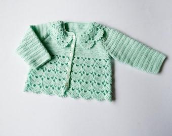 Pale Green Crochet Baby Cardigan, Crochet Baby Sweater, Matinee Coat, Lacy Baby Sweater, Baby Girls Pure Wool Cardigan, 6 months, Handmade