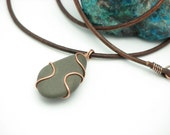 Stone Necklace Pebble Jewelry Beach Stone Jewelry Natural Stone Necklace River Rock Necklace Rustic Jewelry Copper Jewelry