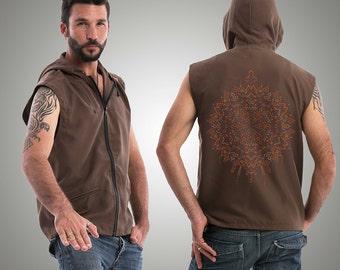 SALE 25% OFF Festival Mens Vest, Brown, Hood Vest, Psychedelic Tribal Vest, Burning Man Clothing, Hooded Vest, Psy Trance, New Age Clothing