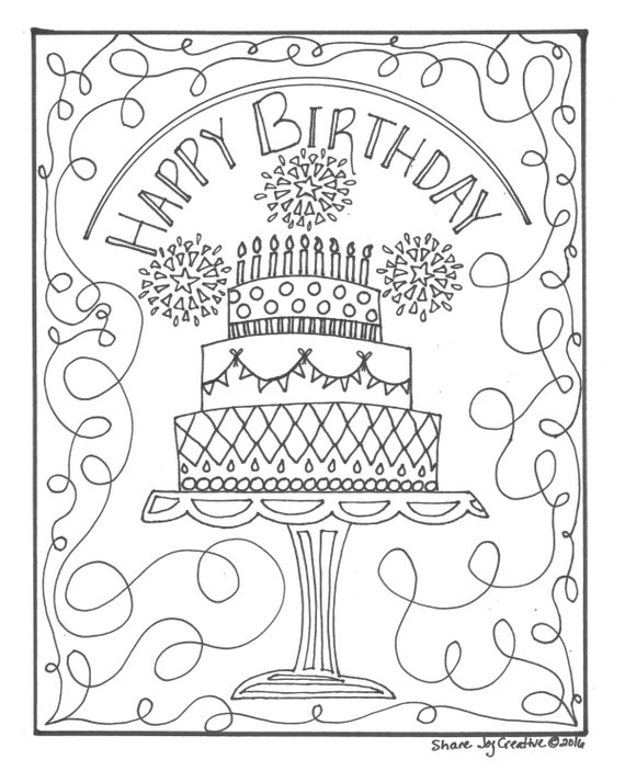 happy 34 birthday coloring pages - photo#50