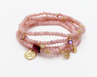 Peruvian Pink Opal Bracelets with Gold Vermeil, CZ and Gemstnone Charms