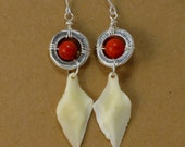Silver Ring and Magnesite Gar Scale Earrings