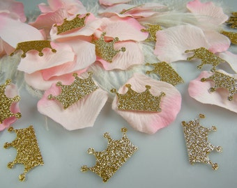 Pink & Gold Confetti Table Decoration Rose Petals and Gold Glitter Crowns - First Birthday Girl Party - Bridal Shower Wedding Table Scatter
