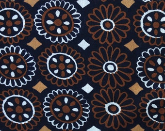 Vintage Navy Blue + Brown Floral Fabric Forum Fabrics