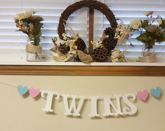 Twins Banner // Baby Shower // Gender Reveal Party // Decorations // Boy // Girl // 5 inches