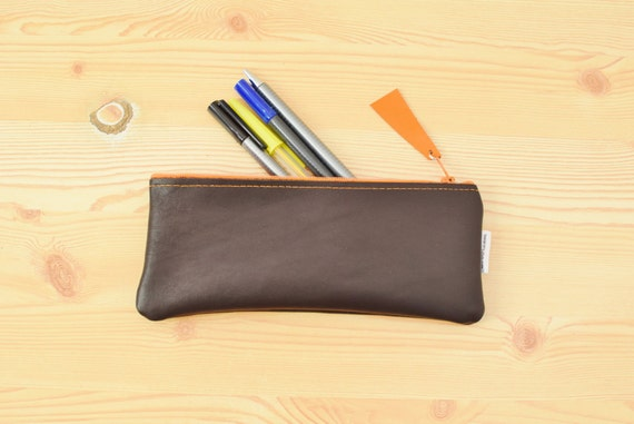Leather pencil case,leather pencilcase,leather pouch,brown leather,brown pencil case,leather case,leather brown,orange pencil case