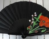 MTO  Poppy 32cm Wooden Hand Fan