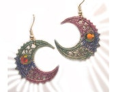 Handmade Painted Cosmic Upcycled Unique Celestial Earrings, sun moon star earrings, crescent moon earrings , eco friendly, crescent earrings