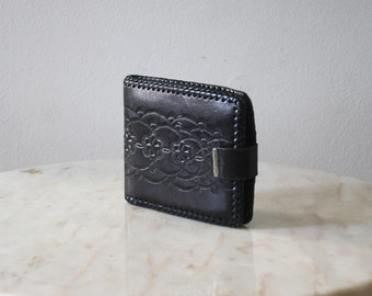 Wallet Black FREE SHIP Leather Tooled Brass Mexican - 1970s Vintage