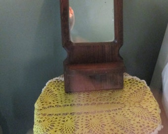 Vintage Entryway Mirror With Shelf / Small 60s Wood Mirror Hallway